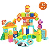 TOP BRIGHT Wooden Building Blocks for Toddlers Educational Toy with Bristle -150pcs