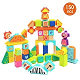 TOP BRIGHT Wooden Building Blocks for Toddlers Blocks Set with Rubber Blocks -150Pcs
