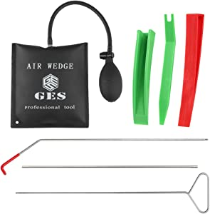 GES 7 Pieces Automotive Car Tool Kits, Automotive Kit Long Reach Grabber, Wedge Pry Tool for Car and Truck, Air Wedge Bag Inflatable Shim Bag