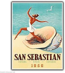 Hermosaa San Sebastian España Vintage Retro Travel Advert Metal Placa de Póster de Metal de Aluminio Carteles de 8