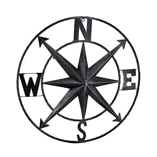 Zeckos Decorative Compass Rose Metal Wall Hanging