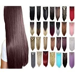 """FIRSTLIKE 26"""" Straight Rose Red Clip In Hair Extensions Thick Full Head Long 8 Pieces 18 Clips Soft Silky For Women Beauty"""