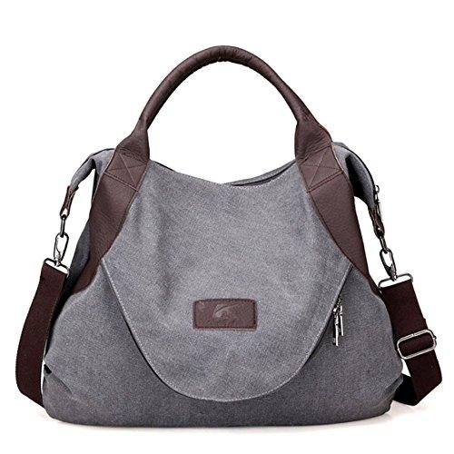 Sac à main pour femme Petit sac à bandoulière Grande capacité Casual Vintage Canvas Multifonctionnel avec fermeture éclair grise