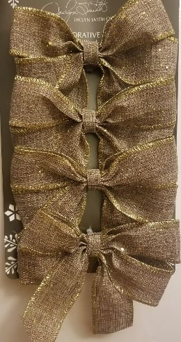 Jaclyn Smith Winter Woodland 4ct wired bows Linen style with gold trim. Measures 7' X 5' Holiday Tree Decorative Tree Trimming bb Kmart