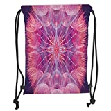 Custom Printed Drawstring Sack Backpacks Bags,Pastel,Extreme Close Up Dandelion Flower Abstract Vivid Dreamy Magical Nature,Light Pink Salmon Purple Soft Satin,5 Liter Capacity,Adjustable String Closu