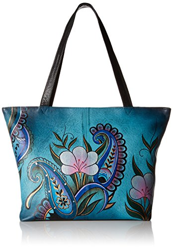 Anna by Anuschka Genuine Leather Convertible Large Tote | Hand-Painted Original Artwork | Denim Floral Paisley