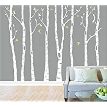 8 Birch Tree Wall Decals with Flying Birds Removable Vinyl Wall Decal Tree Nursery
