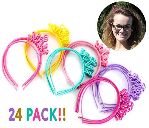 Cornucopia Brands Princess Party Favors Tiara Headbands (24 Pcs, 6 Colors); Crown Hair (Movie Themed Costumes Diy)