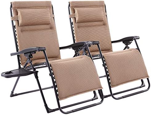 CO-Z XL Zero Gravity Chairs w Cup Holders | Oversized Recliner Chairs w Adjustable Headrests | Reclinable Folding Chair