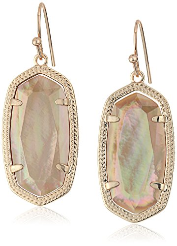 Kendra Scott Signature Dani Rose Gold Plated Brown Mother-Of-Pearl Drop Earrings ()