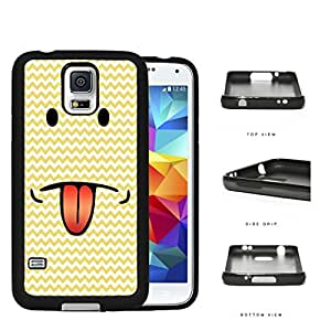 Emoji Smiley Face With Tongue Out Yellow Chevron Rubber Silicone TPU Cell Phone Case Samsung Galaxy S5 SM-G900 by supermalls