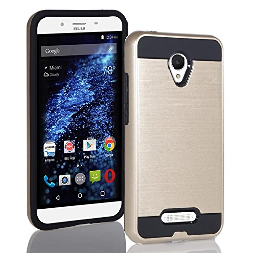 BLU Studio X8 HD case, {NFW} Tough Hybrid + Dual Layer Shockproof Drop Protection Metallic Brushed Case Cover for Studio X8 HD (S530) (VGC Gold)