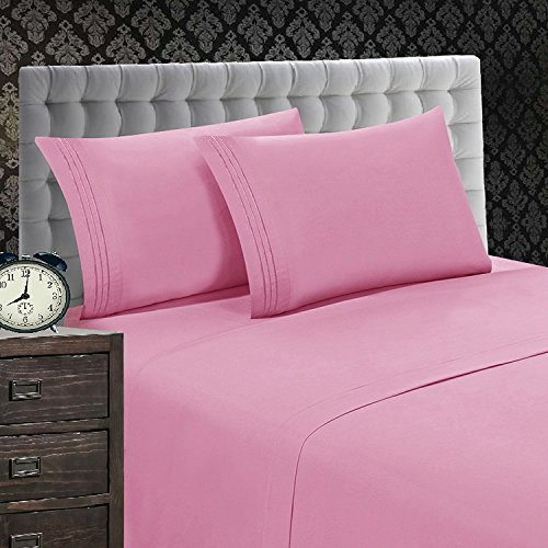 Elegant Comfort 1500 Thread Count Luxury Egyptian Quality Wrinkle and Fade Resistant 3-Piece Sheet Set, Twin/Twin X-Large, Light Pink