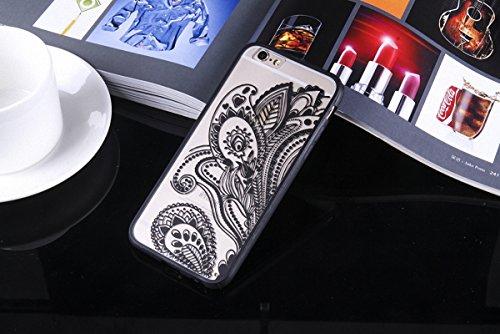 König-Shop Handy Hülle Mandala für Apple iPhone 6 / 6s Design Case Schutzhülle Motiv Blüte Cover Silikon Tasche Bumper Schwarz
