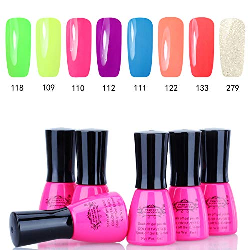 Perfect Summer UV Gel Nail Polish - 8 Colors Gel Nail Varnish Soak Off UV LED Manicure Home Gel Manicure System 8ML 06