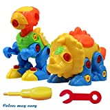 SUPRBIRD Dinosaur Play 2 Sets, Assemble and Disassemble Dinosaurs DIY Take Apart Pull Along Toys for Kids over 3 Years Old