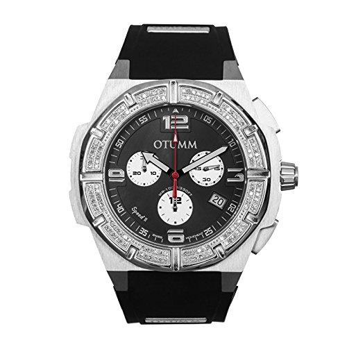 Otumm Diamond Speed II Reloj de acero negro 45 mm con bisel de diamante unisex diamante: Amazon.es: Relojes