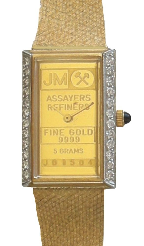 Johnson Matthey ''One of a Kind'' 14K Gold 5 Gram Ingot Ladies Watch With .50 ct Diamonds