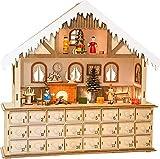 Happypierrot Living Room Advent Calendar with Lights, Wood, Nature, 39 x 10 x 38 cm