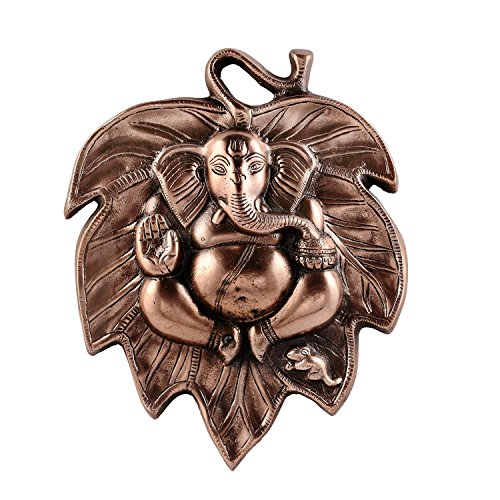 The Hue Cottage 'Handmade Wall Hanging Figurine God Ganesha Statue' Sitting on Leaf, by Copper Metal Work Idol Sculpture, for Home Decor Showpiece & Gift Item - 29 x 24 x 3 cms
