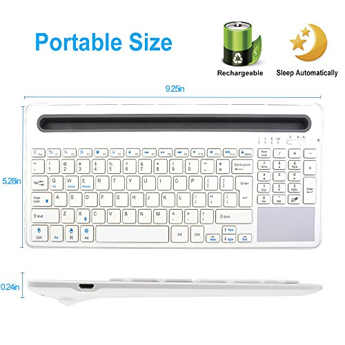 Keywin U-groove Multi Wireless Bluetooth with Touchpad Keyboard, Double Channel Design Full Function Keyboard, BT 3.0,Universal for Ipad Air Mini,Mac,Laptop,Ipad and Tablets PC Multi-Device (White) by Keywin (Image #2)