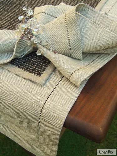 LinenMe 1-Pezzo 40 x 200 cm runner da tavolo lino Emilia, colore naturale 0063402