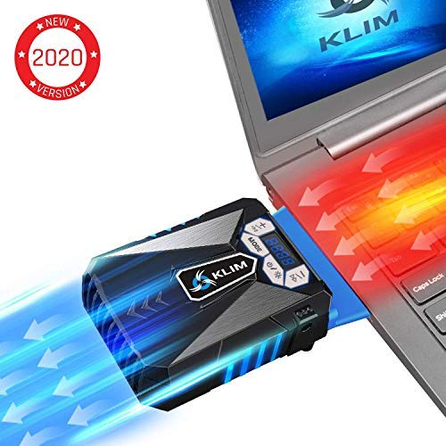 ⭐️KLIM Cool Laptop Cooler Fan - Innovative Portable Cooling Design with Display - External Gaming Cooler - High Performance Ventilation - USB Connection - Cooling Pad - Quiet Air Vaccum - Reduce Heat