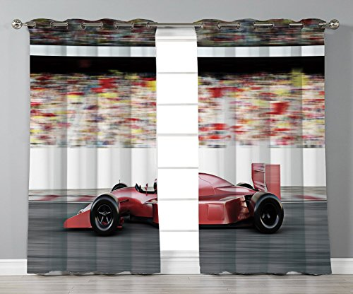 Thermal Insulated Blackout Grommet Window Curtains,Cars,Motor Sports Red Race Car Side View on a Track Leading the Pack with Motion Blur,Gray Red Black,2 Panel Set Window Drapes,for Living Room Bedroo