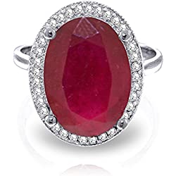 7.93 Carat 14k Solid White Gold Ring with Natural Oval-shaped Ruby and Genuine Diamonds
