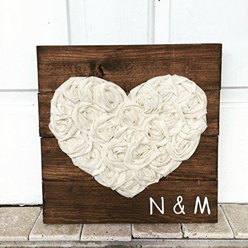 14x14 Fabric Heart Wooden Establish Monogram Sign Dark Walnut Sign Love Decor Wedding Gift Wall Plaque mothers day spring decor (Sawtooth Monogram)