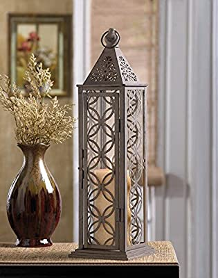 Eclipse Candle Lantern Tall 17 Inch Slim Design Iron Candleholder