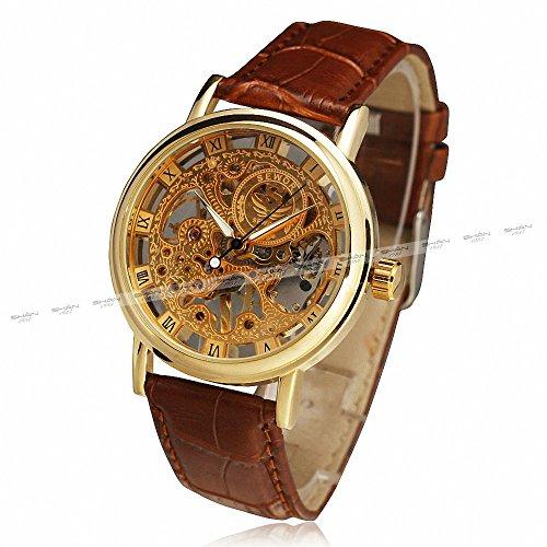 SEWOR Men's Retro Elegant Mechanical Wrist Watch Leather Strap Three Hands Roman Number Transparent Dial Skeleton Concise +Box