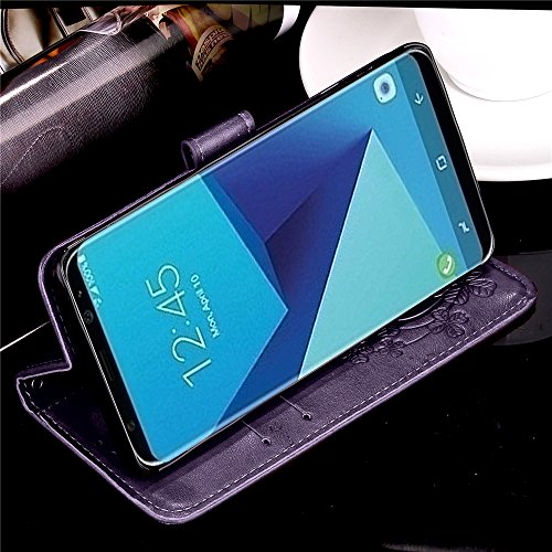 Galaxy J3 2018,J3 Achieve,J3V J3 V 3rd Gen,J3 Star,Amp Prime 3 Case,[Flower  Embossed] Leather Wallet Flip Protective Case Cover with Card Holder and