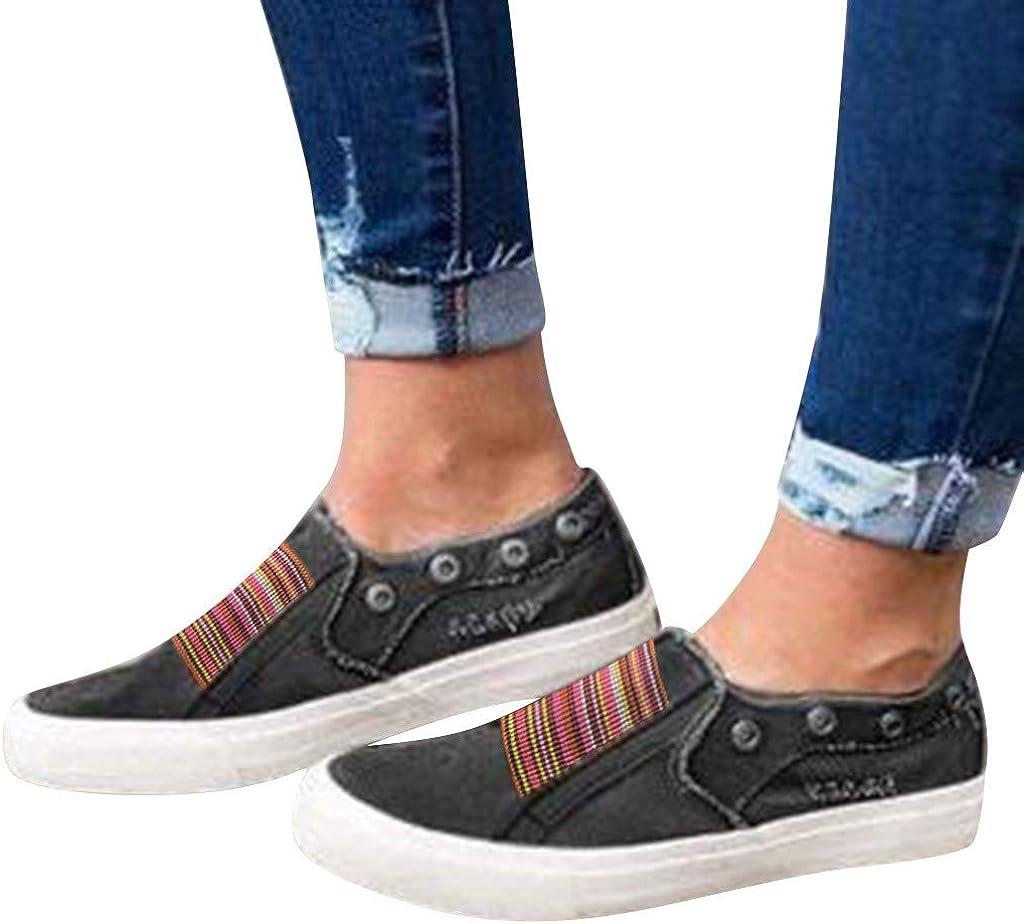 VJGOAL Sneakers Femme Plateforme Chaussure Femme Basket Toile Plat Chic Totem Milieu Talon Chaussures Paresseux Chaussure Femme Ete Confort Chaussure De Securite Femmes Noir