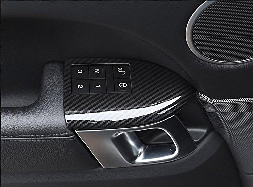 ABS Plastic Child Safety Lock Button Frame Cover Trim Car Accessories carbon fiber style (With Seat memory button frame) for Land Rover Range Rover RR Sport 2014-2017