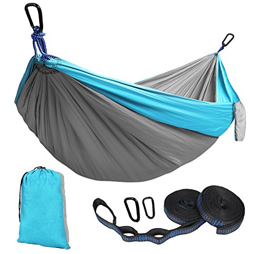 Parachute Nylon Travel Hammock - Kootek Double Camping Hammock Portable Indoor Outdoor Tree Hammock with 2 Adjustable Hanging Straps, Lightweight Nylon Parachute Hammocks for Backpacking, Travel, Beach, Backyard, Hiking