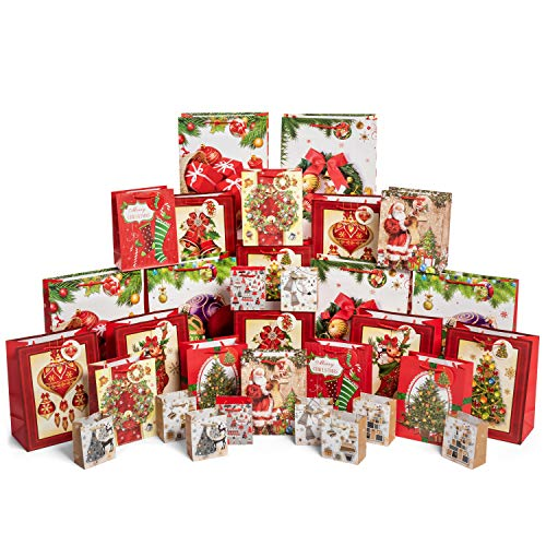 32 Count Christmas Assorted Gift Bags with Handles and Gift Tags Holiday Bulk Wrapping Set Includes 6 Jumbo 8 Large 8 Medium 10 Small Bag Assortment for Kids Goodies Party Favor Boxes Presents