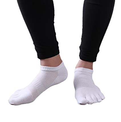 calcetines hombre cortos Sannysis 2 pares calcetines running hombre, calcetines de punta (blanco)