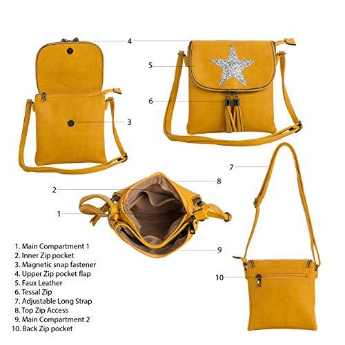 Yellow Flapover Womens Body Glitter Star Mustard Size Cross Bag Handbag Shoulder Small Big Shop UqTWRxO