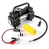 Heavy Duty Double Cylinder Air Compressor Pump:12V Electric Car Tire Inflator w/Digital Tire Gauge, Small Compressor Tanks w/LED Work Lights & 3 Adapters for Automobiles, Bike Tires & Inflatables