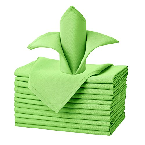 VEEYOO Cloth Napkins Set of 12 Pieces Solid Polyester Napkins Soft Fabric Washable and Reusable Dinner Napkin for Banquet Wedding Restaurant (Apple Green, 20x20)