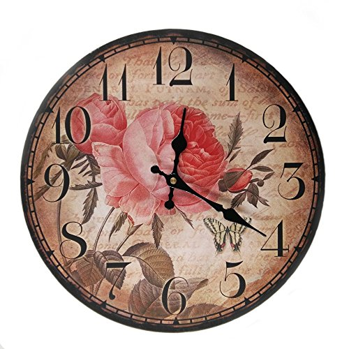 LOVE(TM)14inch Wooden Clock Shabby Chic Retro Arabic Numeral Rose Flower Butterfly Pattern Wooden Wall Clock Kitchen Livingroom Bedroom Decoration(14