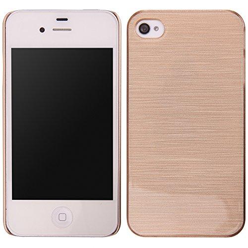 handy-point Aluminium gebürstet Optik Kunststoffhülle Hülle Schale Schutzhülle aus Kunststoff hardcase für iPhone 4 4S, Goldig