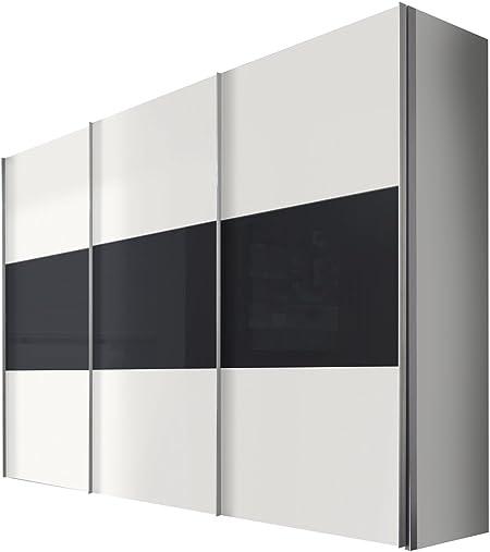 Solutions 46910 – 211 Armario de Puertas correderas (3 Puertas, Listones de Mango Aluminio Colores, Cuerpo/Frontal: Polar Blanco/Grafito Cristal: Amazon.es: Hogar