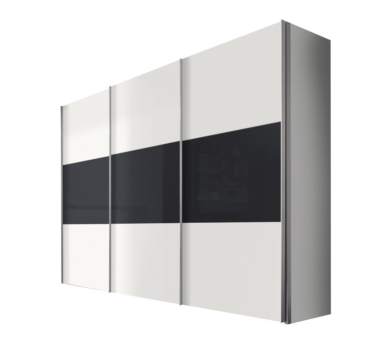 Solutions 46910-211 Schwebetürenschrank 3-türig, Griffleisten Alufarben, Korpus/Front: Polarweiß / Graphitglas