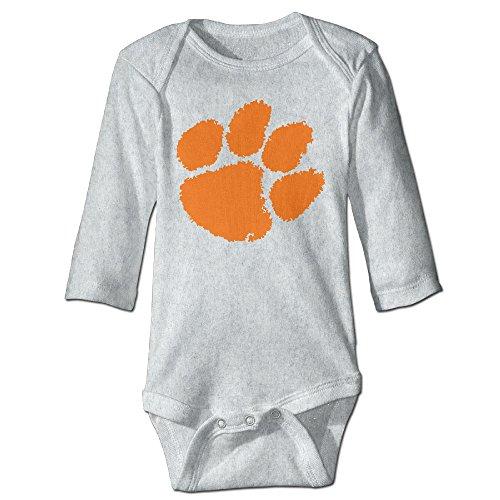 (OOKOO Baby's Clemson University Tiger Paw Logo Bodysuits Ash 12 Months)