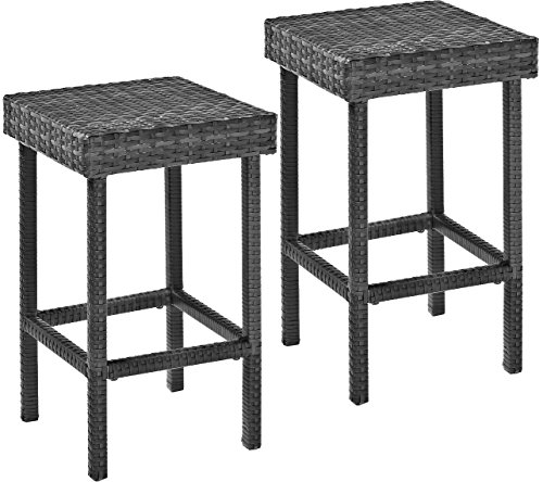 Crosley Furniture Palm Harbor Outdoor Wicker 24-inch Counter Height Stools - Grey (Set of 2)