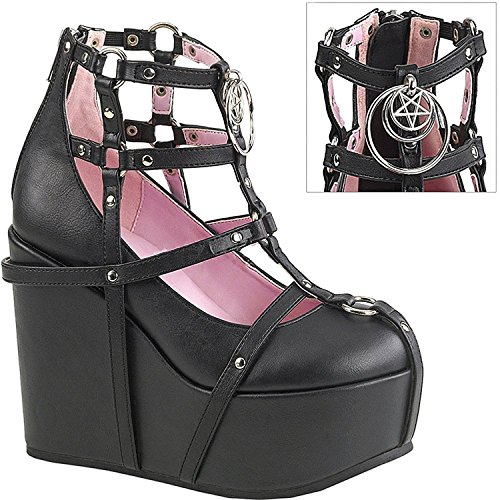 Demonia Poison-25-1 Donna 5 Zeppa Piattaforma Cage Bootie Blk Vegan Leather