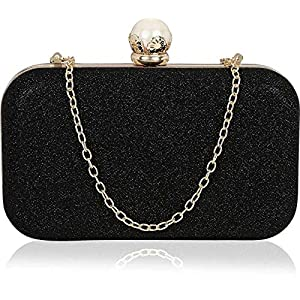Tooba Handicraft Party Wear Beautiful Bling Pearl Box Clutch Bag Purse For Bridal, Casual, Party, Wedding