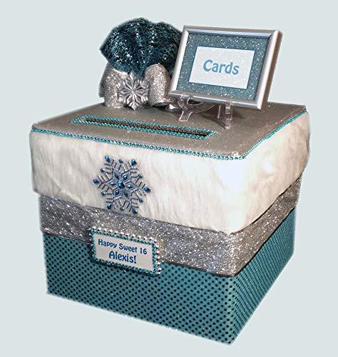 Sweet 16 Winter Wonderland Card Box, Wedding Card Holder, Quinceanera Centerpiece, Aqua, white fur, holds 500 cards, All The Best Card -